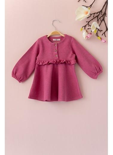 Cigit Fırfırlı Özel Kumaş Elbise Pudra